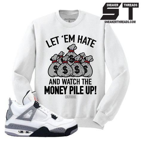 1865361351f9 ... 12 OVO Match White Sweatshirt Sweater match Jordan 4 white cement retro  4s. cement sneaker crews.
