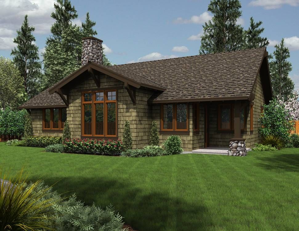 Stone ranch home plans with porches house plan 1169a for Craftsman style ranch house