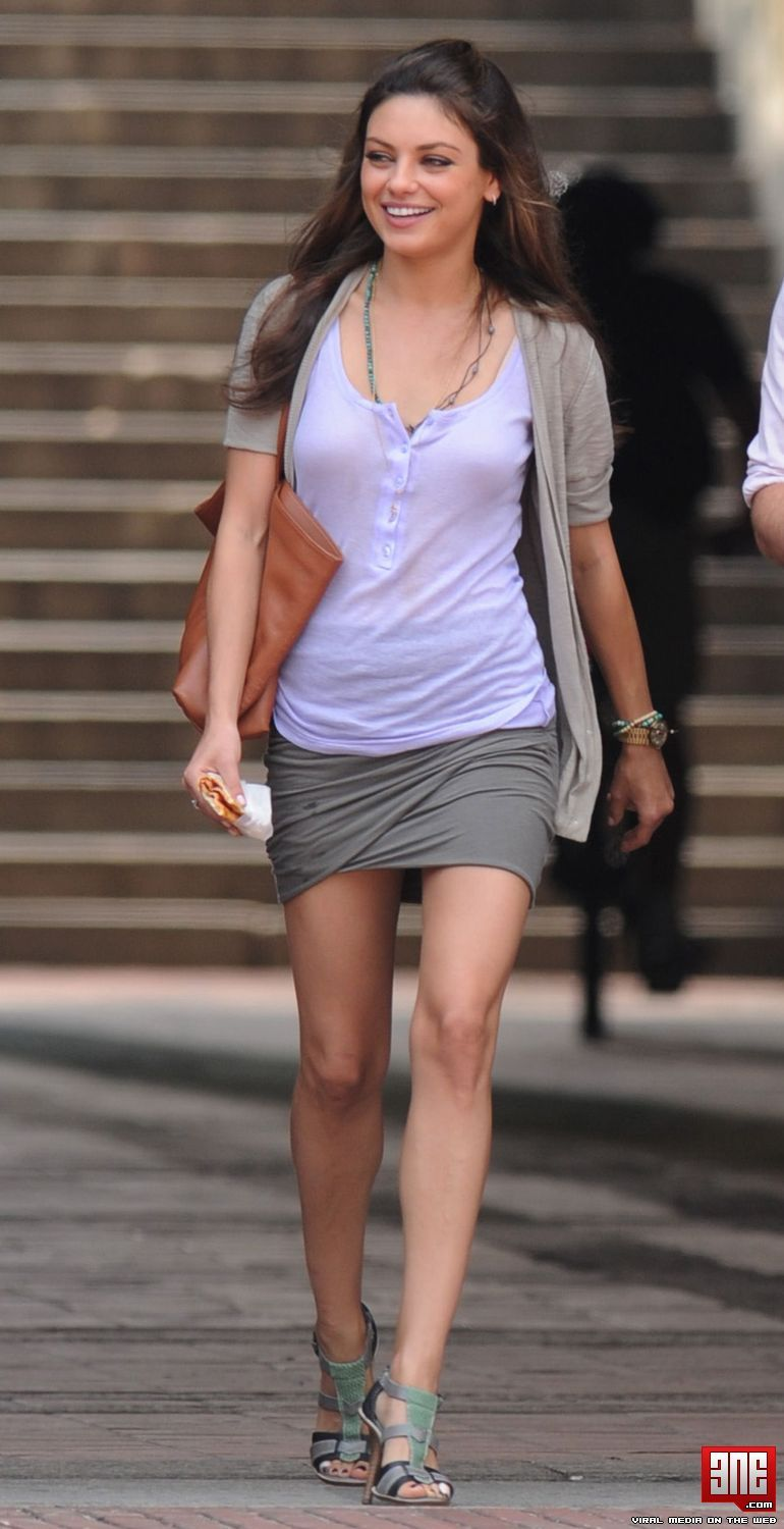 734a26ce9999 Mila Kunis mini skirt candids in NYC.