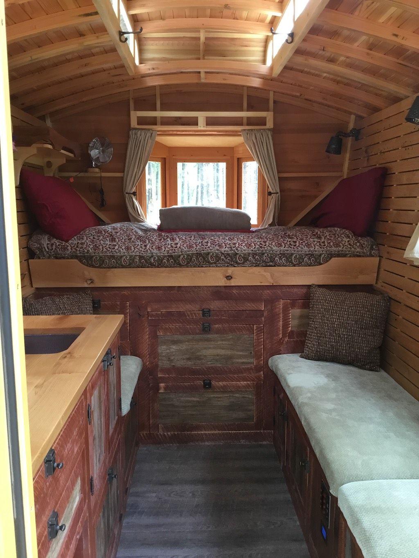 Diy Charming Rustic Wooden Interior Camper Van With Sky