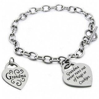 Grandma Scripted Heart Tag Stainless Steel Bracelet Fantasy Jewelry Box. $49.95. Brushed Finish Heart Charm. 7.5 Inches in Length. Stainless Steel