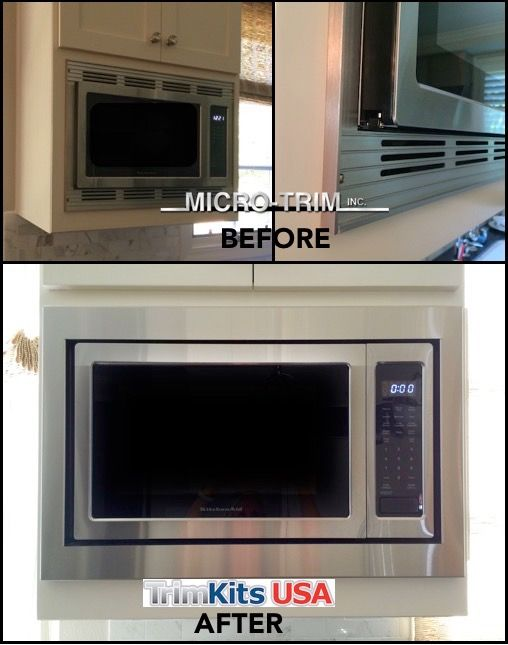 kitchenaid microwave, model # kcms1655bss custom trim kit (before