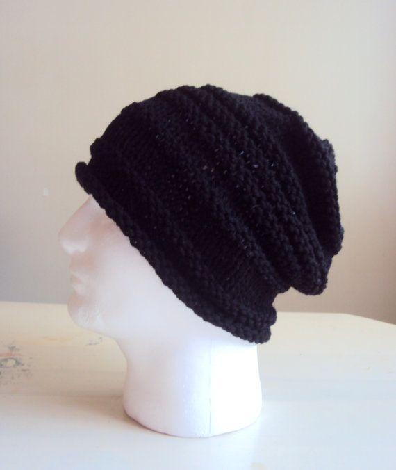 Men Knit Hat Black Slouchy Beanie Celebrity Hat Fall Winter Hat Beret Men  Gift Ideas Under