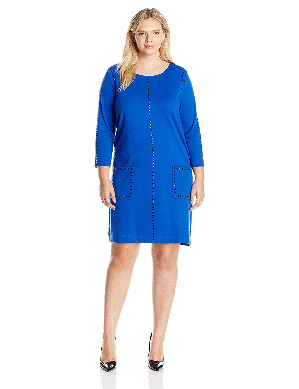 Joan Vass Women s Plus Size Studded Two Pocket Dress Discover