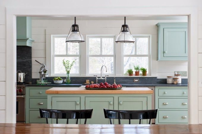 I love the modern farmhouse look of this space. Architect Rafe Churchill was responsible for the transformation of this country cottage kitchen in Salisbury, Connecticut. Love the custom hood, cabinetry and their pretty color (Farrow and Ball Green Blue No. 84)...it looks amazing against the white of the rustic tongue and groove boards.