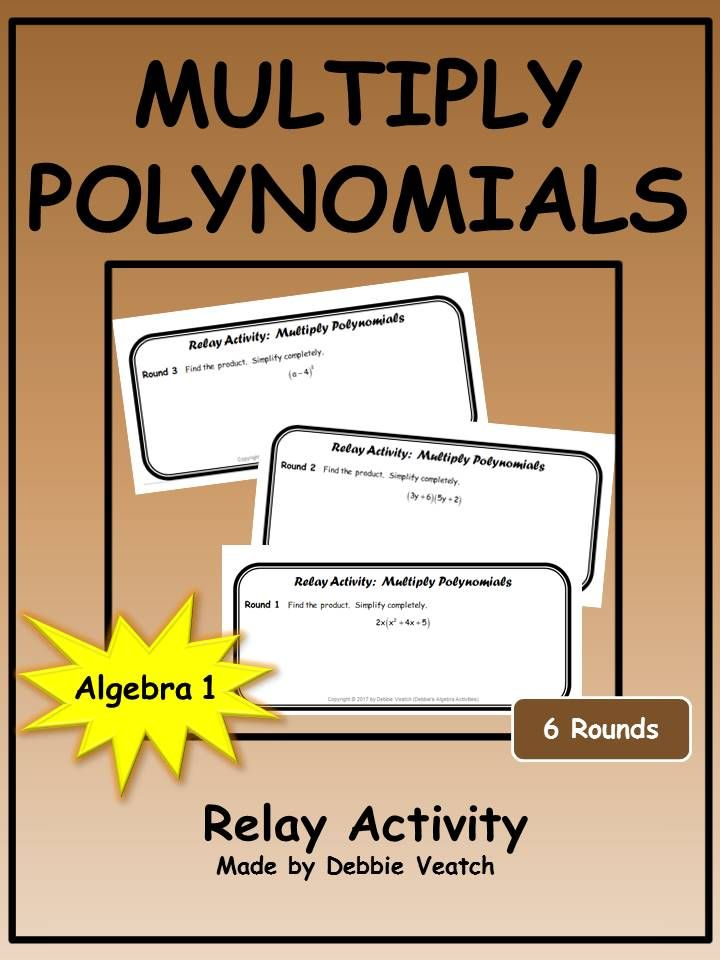 Multiply Polynomials Relay Activity Math Resources Math And