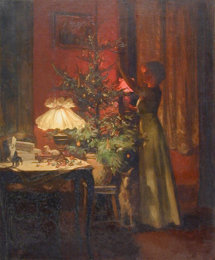 Young woman decorates the Christmas tree, by Marcel Rieder ,1898