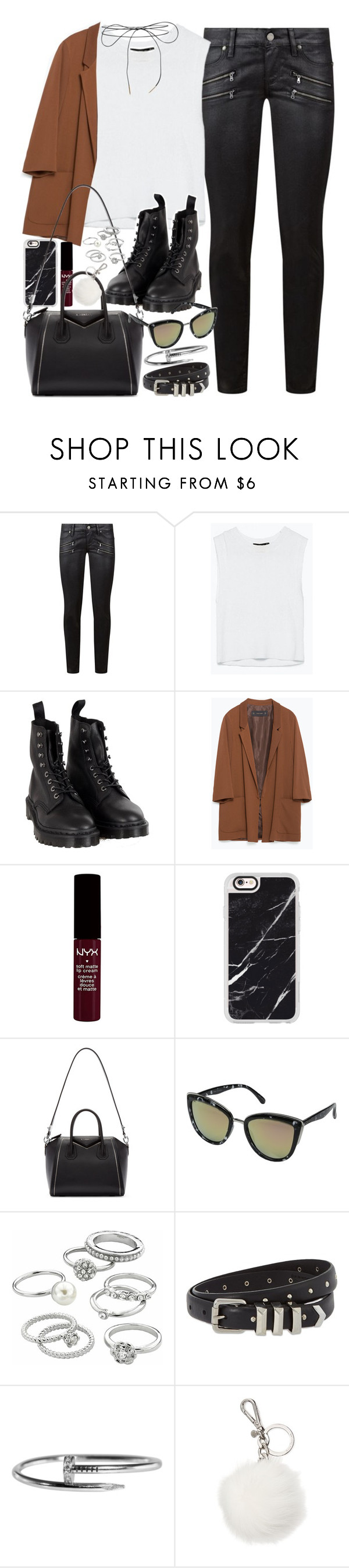 """Outfit with a blazer and Dr Martens"" by ferned ❤ liked on Polyvore featuring Paige Denim, Dr. Martens, Zara, Casetify, Givenchy, Quay, Candie's, The Kooples, Michael Kors and Lilou"
