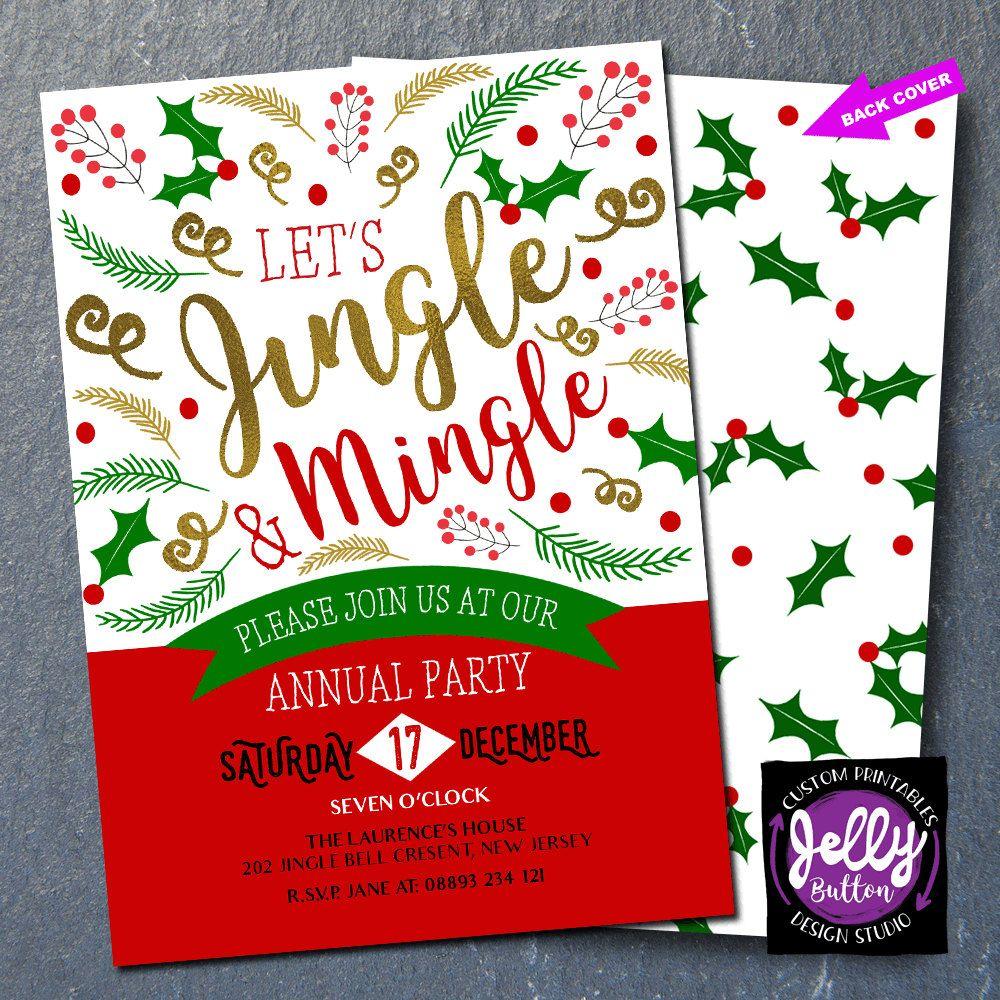 Jingle and Mingle Christmas Party Invitation,xmas invite, christmas ...