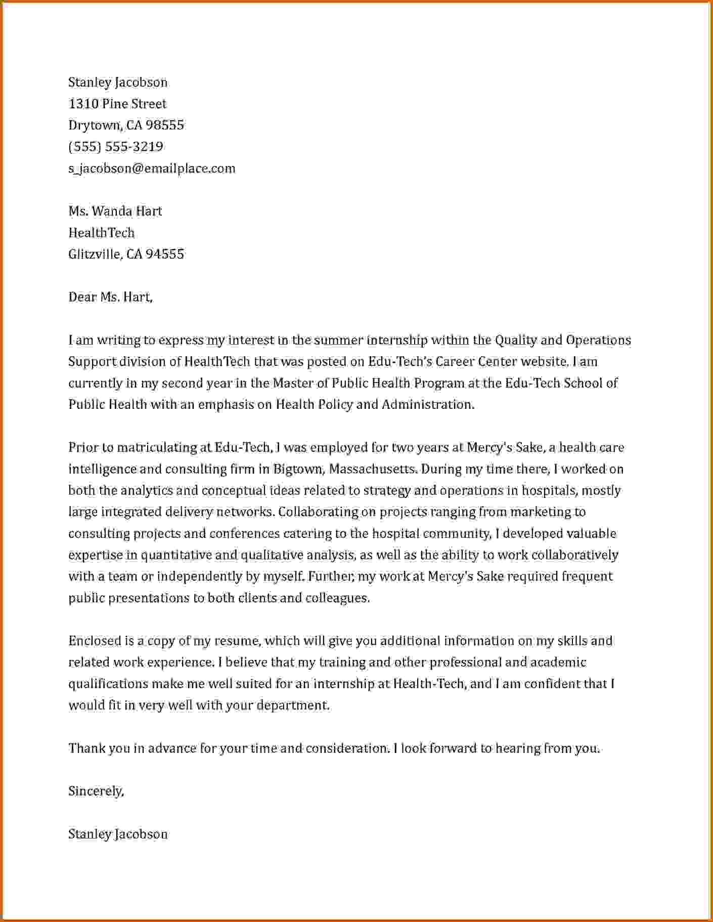 Cover Letter For Summer Internship New 8 Internship Cover Letter Sle Lease Template #studymathonine  Math .
