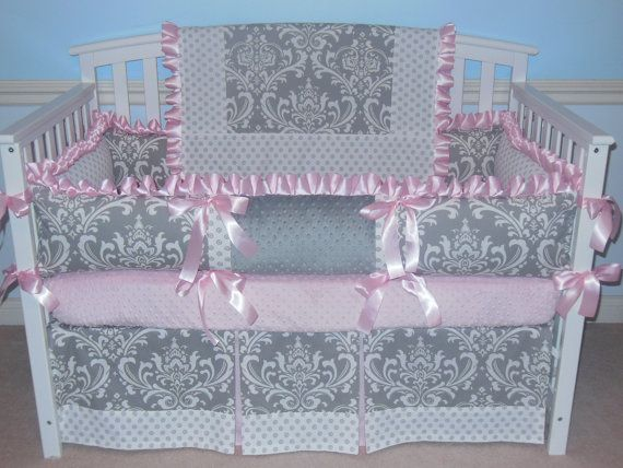 Hey, I found this really awesome Etsy listing at https://www.etsy.com/listing/190973091/custom-crib-bedding-pink-gray-damask