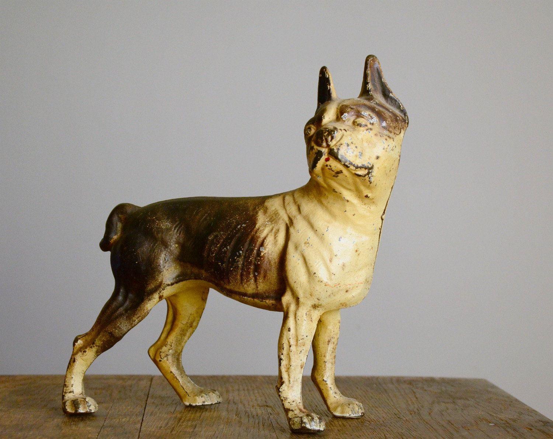 Vintage Hubley Cast Iron Door Stop Boston Terrier 18200 Via