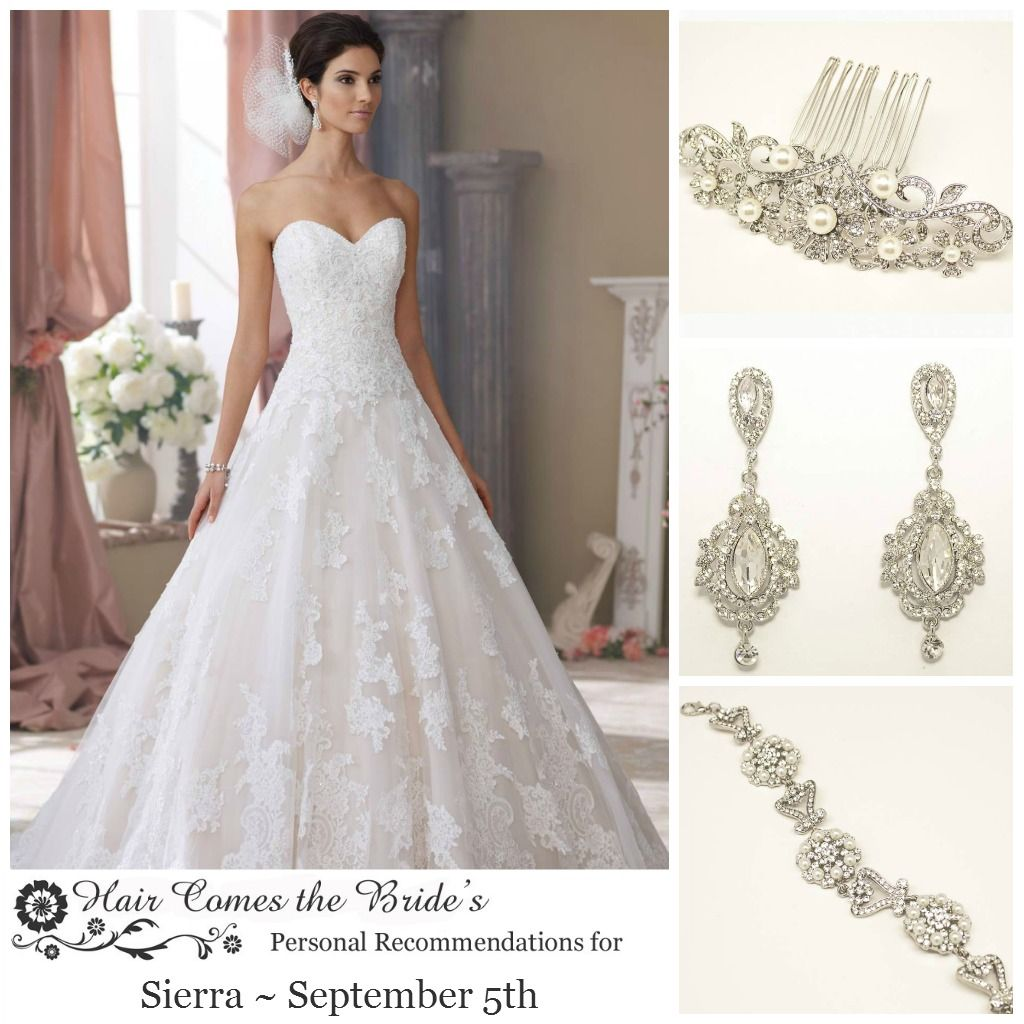 bridal hair accessory & jewelry ideas for david tutera dress