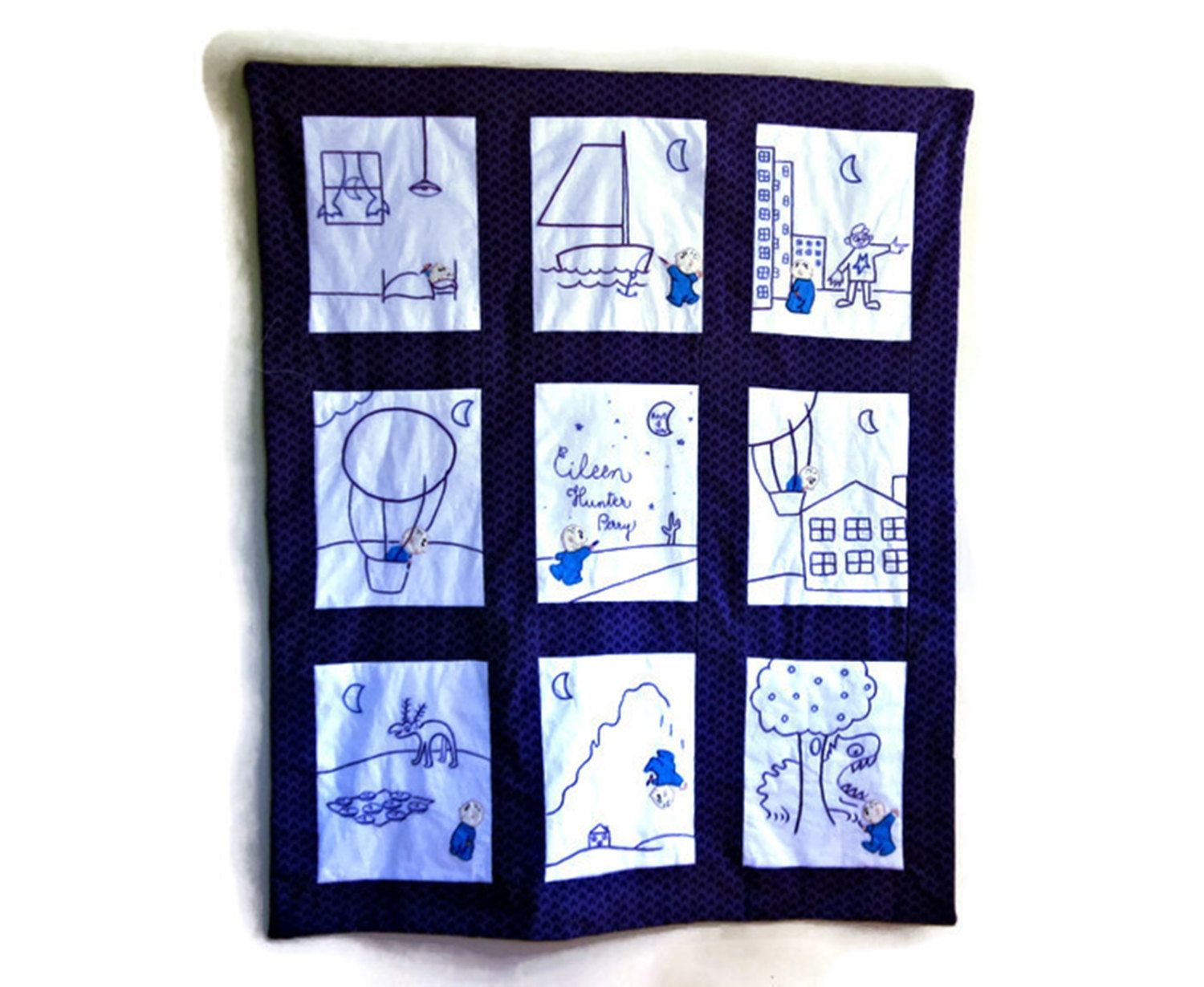 Harold and the purple crayon baby quilt wall hanging custom harold and the purple crayon baby quilt wall hanging custom personalized baby bedding best baby gift negle Image collections