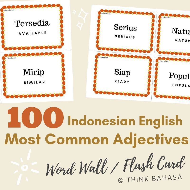 100 Most Common Adjectives Indonesian English Word Wall