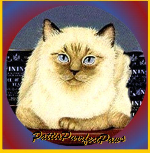 1 1/2 Fabric Cat Button  BLUE Eyed Regal by CatFabricsandButtons, $4.95