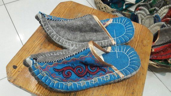16244097c48c6 Kazakh traditional Felt Anti-Slip Slippers Home Sandals Indoor House ...
