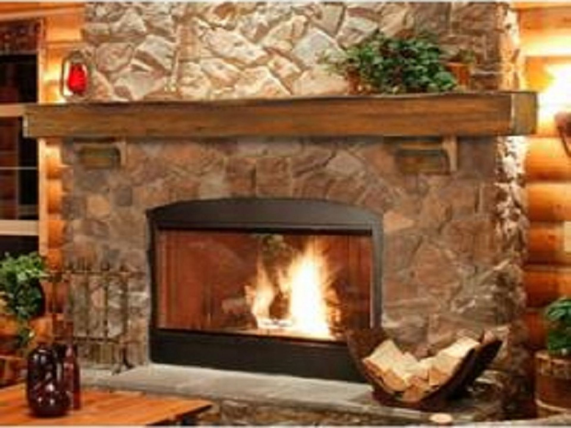 natural look teak wood natural polished floating fireplace mantle at stones wall decor in rustic living