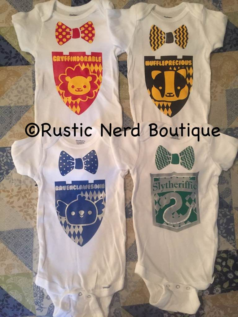 Exceptional Harry Potter House Crest With Bow Tie Onesie