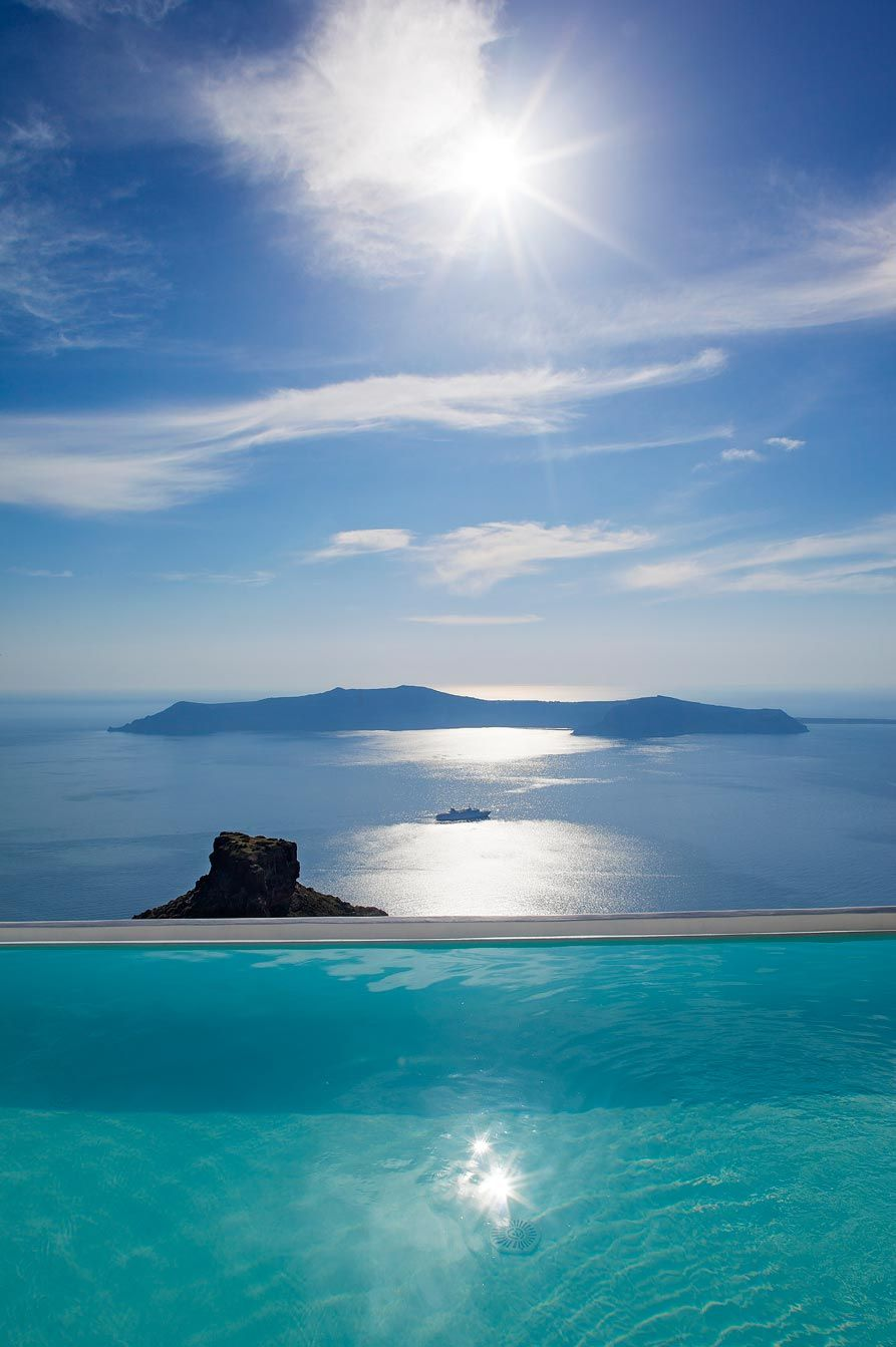 Beautiful Swimming Pool View in Santorini, Greece