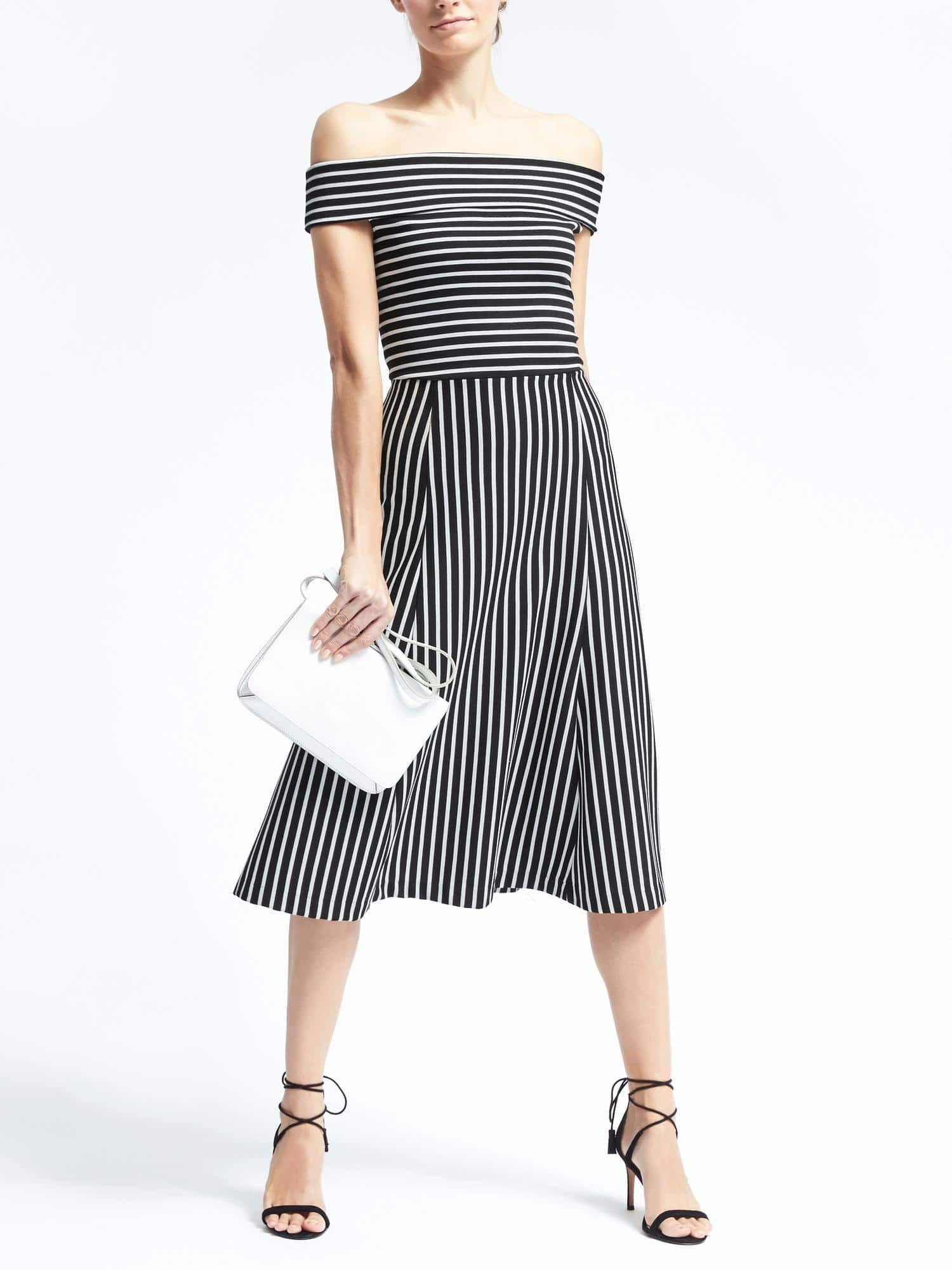 44198559e662 Banana Republic Stripe Off-Shoulder Midi Dress