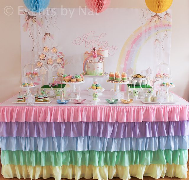 2 Table Covers Magical Rainbow Unicorn Themed Birthday Party Pack for 20 with