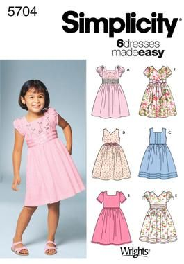 Simplicity 5704 Dress With Full Skirt V Neck Or Square