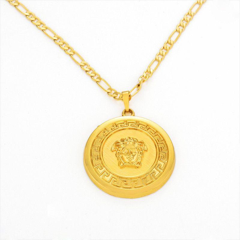 Hiphop gold chain men women 18k gold lion head gold plated figaro hiphop gold chain men women 18k gold lion head gold plated figaro necklace pendant aloadofball Image collections