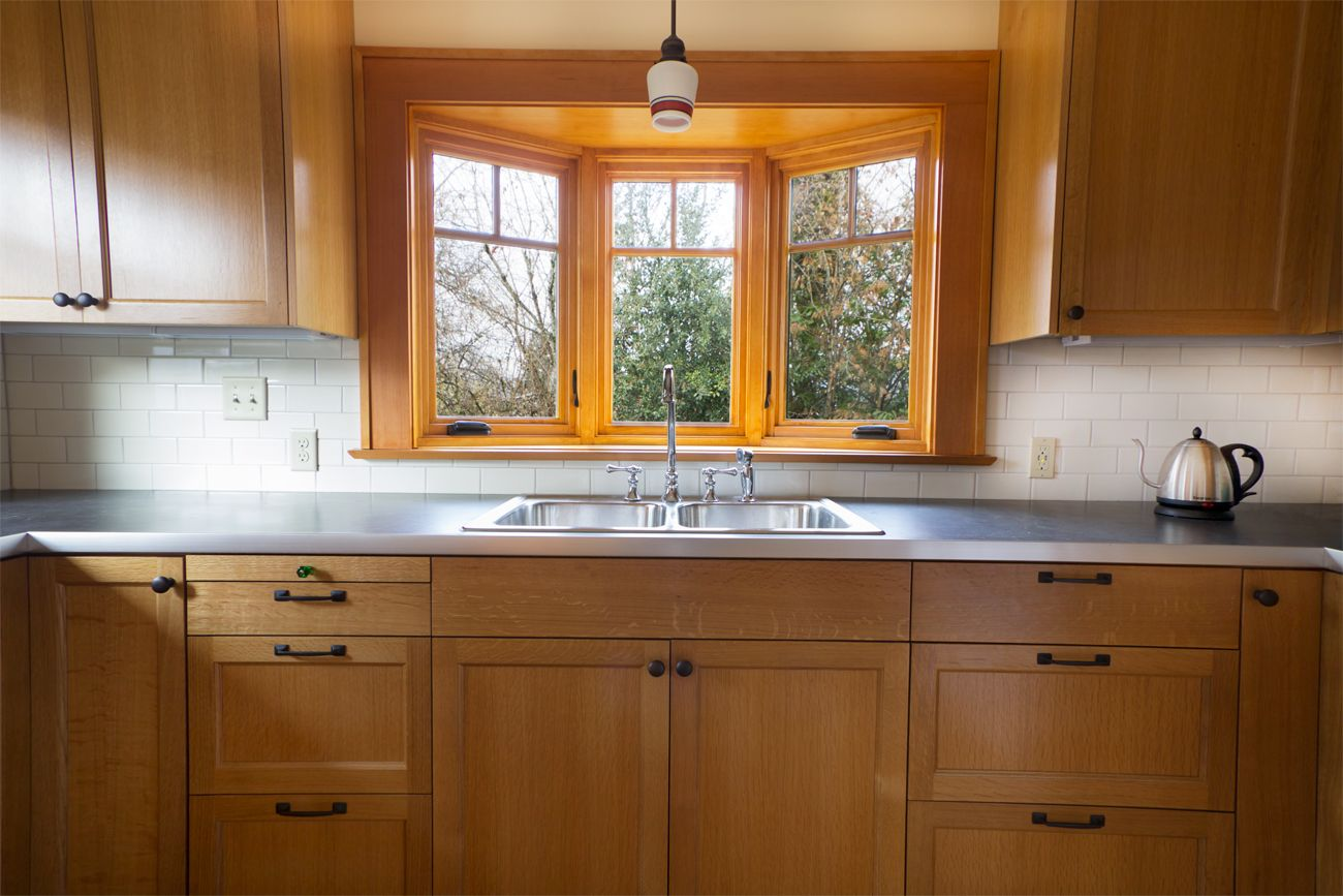 Bay window over double sink in kosher kitchen remodel for Bay window remodel