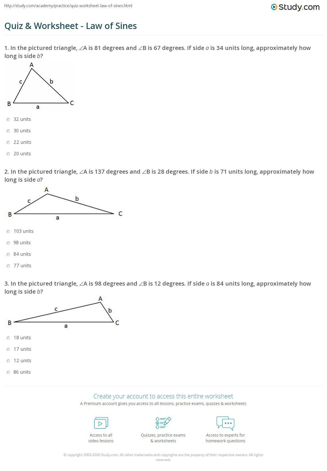 Law Of Sines Worksheet Answers Quiz Amp Worksheet Law Of