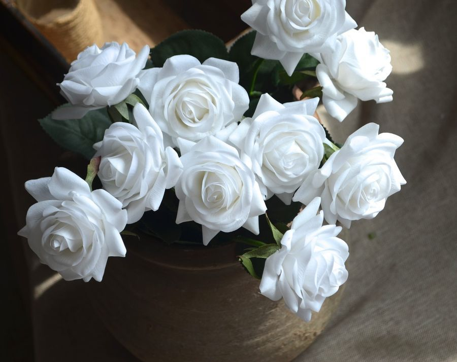 10 Stems White Roses Real Touch Flowers DIY Wedding Bouquets DIY Centerpieces