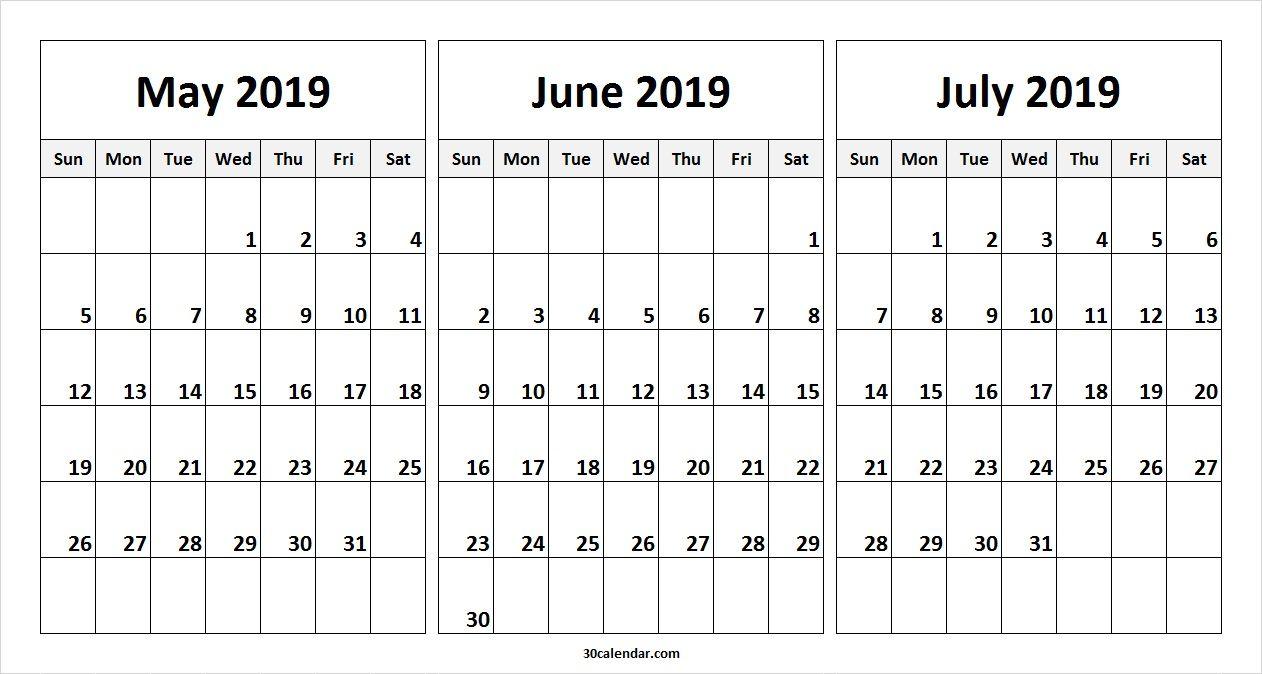 May June July 2019 Calendar In Pdf Word Excel Printable Template