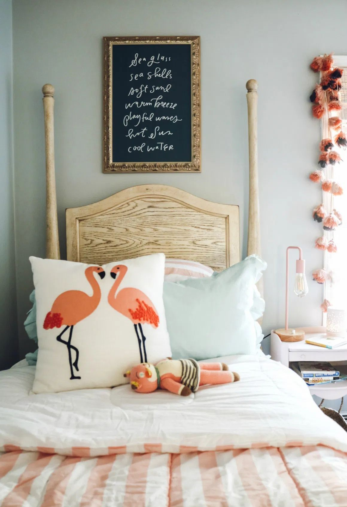 Little Girl gets a Bedroom | Nesting With Grace | Whimsical blue, pink and gray girls room with fun eclectic accessories. #girlsroom #kidsroom