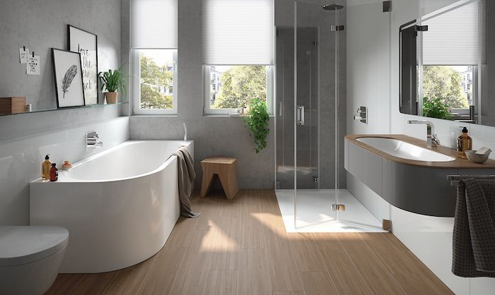 Salle de bain beige et gris u2013 pierre deviendra sable
