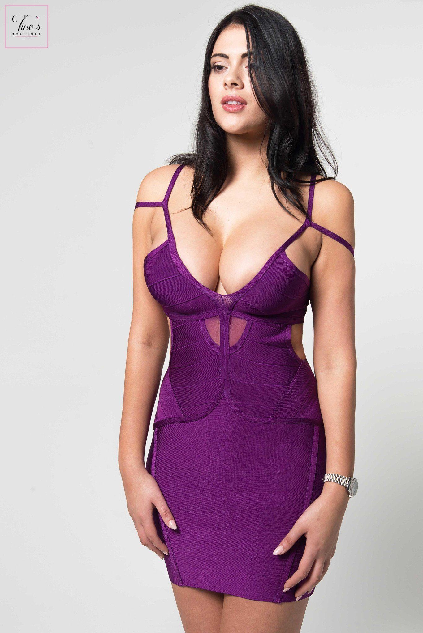 Ellieu purple cutout bandage dress desree