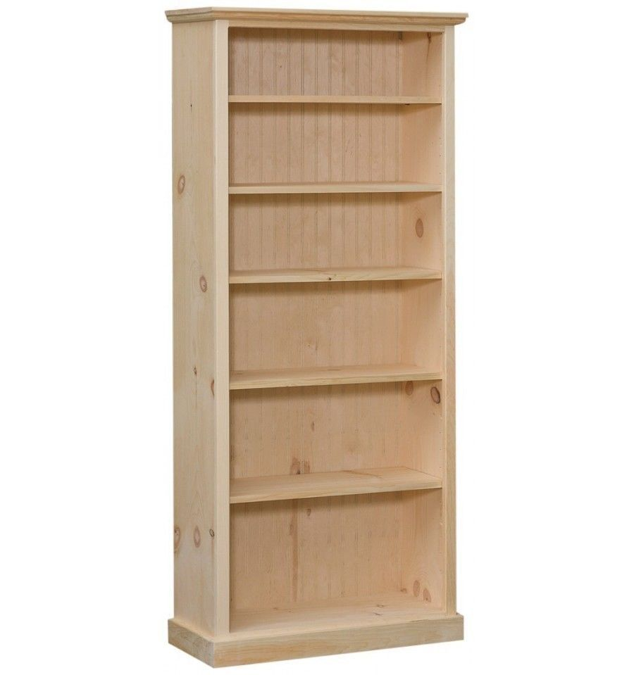 "AMISH Unfinished Pine ~ CUSTOM SIZED BOOKCASE ~ Adjustable 18/"" wide 30/"" tall"
