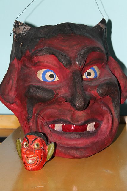 german devil lantern and miniature halloween devil decoration - German Halloween Decorations