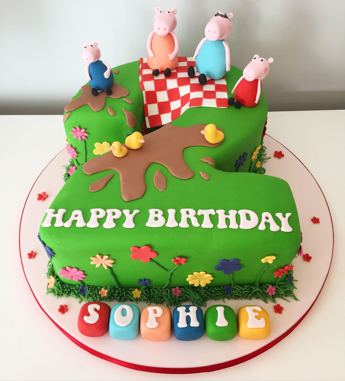 Peppa Pig Number 2 Cake Name On Blocks Pig Birthday Cakes Peppa Pig Birthday Cake Peppa Pig Birthday