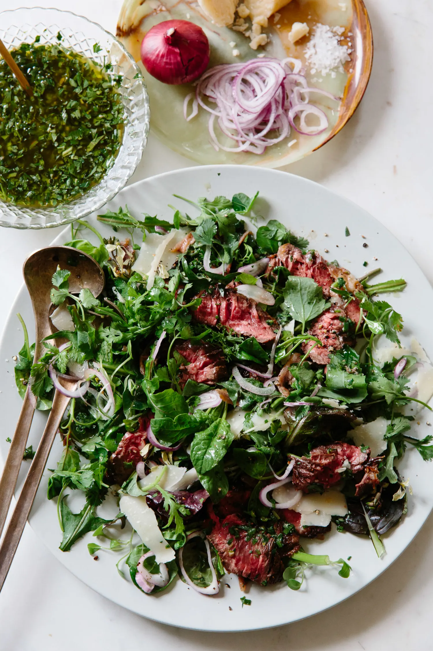 Hanger Steak with Dandelion, Arugula, and Grana Padano images