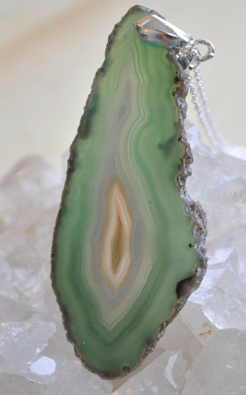 Agate Stone Necklace Pendant With Sterling Silver Bail Aqua Aqua Teal Blue Geode Boho Bohemian Jewelry. $19.99, via Etsy.