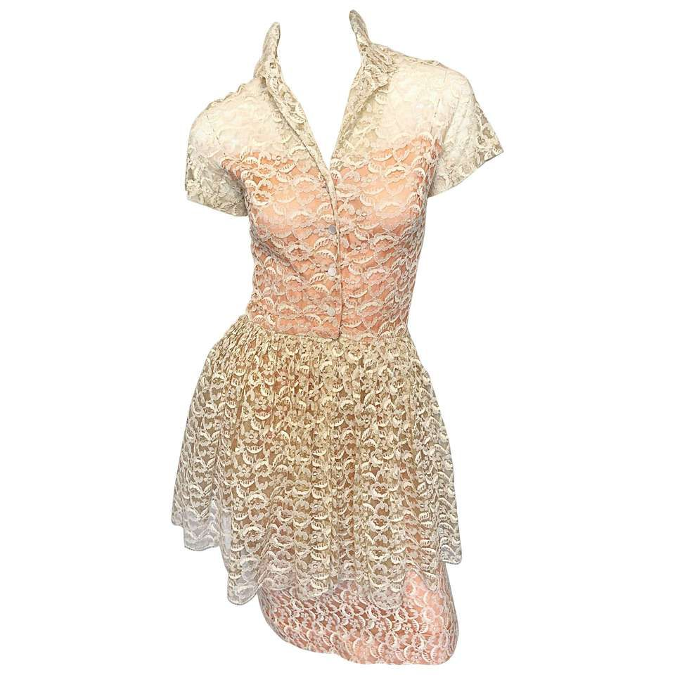 0eee9cbf521 Demi Couture 1950s Neusteters Ivory + Pink Silk French Lace Vintage Peplum  Dress For Sale