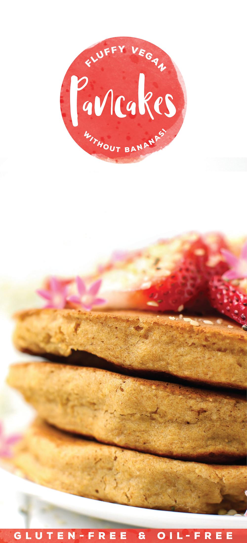 Fluffy Vegan Pancakes Without Banana Gluten And Oil Free Recipe Fluffy Vegan Pancakes Vegan Pancakes Food