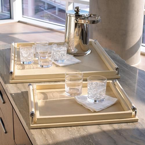 Global Views Wrapped Handle Tray in Ivory Leather is part of Home Accessories Luxury Beverly Hills -
