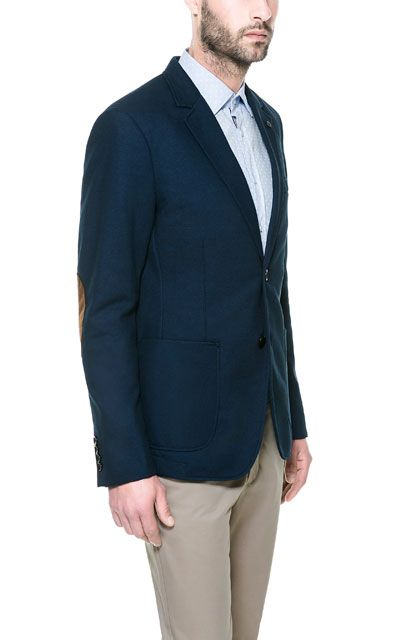ec781b74 PIQUÉ BLAZER WITH ELBOW PATCHES - Blazers - Man - New collection | ZARA  United States