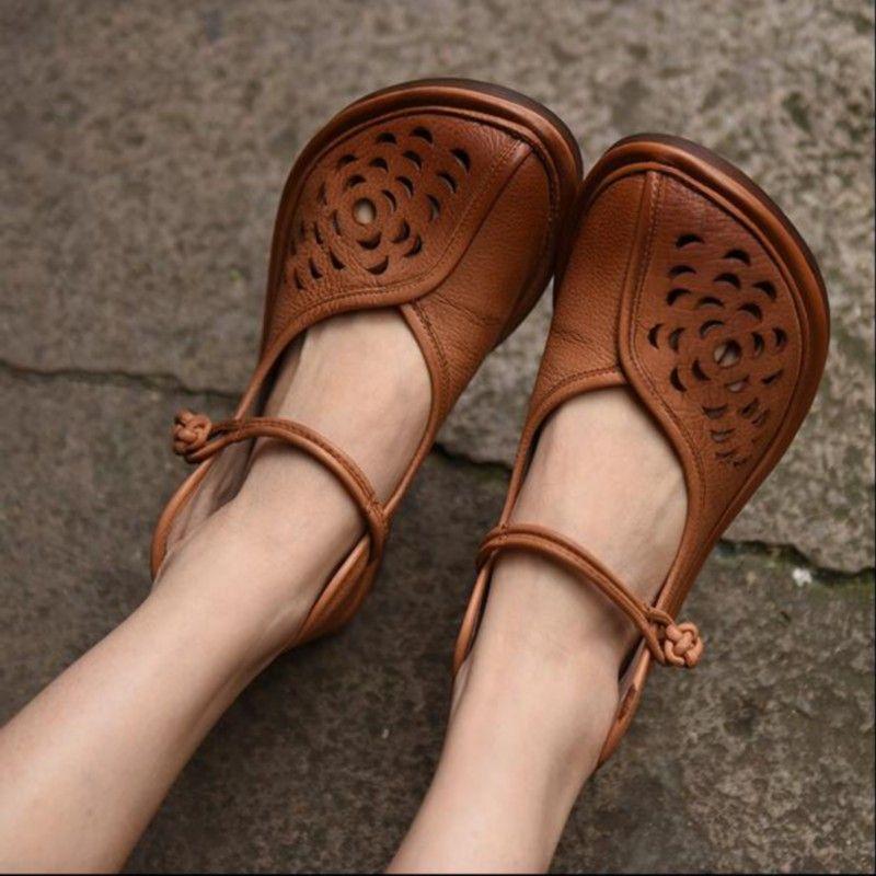 Купить товарНатуральная кожа ручной женская обувь старинные вырез лировидные милые туфли плоские каблуки мягкие и удобные сандалии в категории Обувь на плоской подошвена AliExpress.
