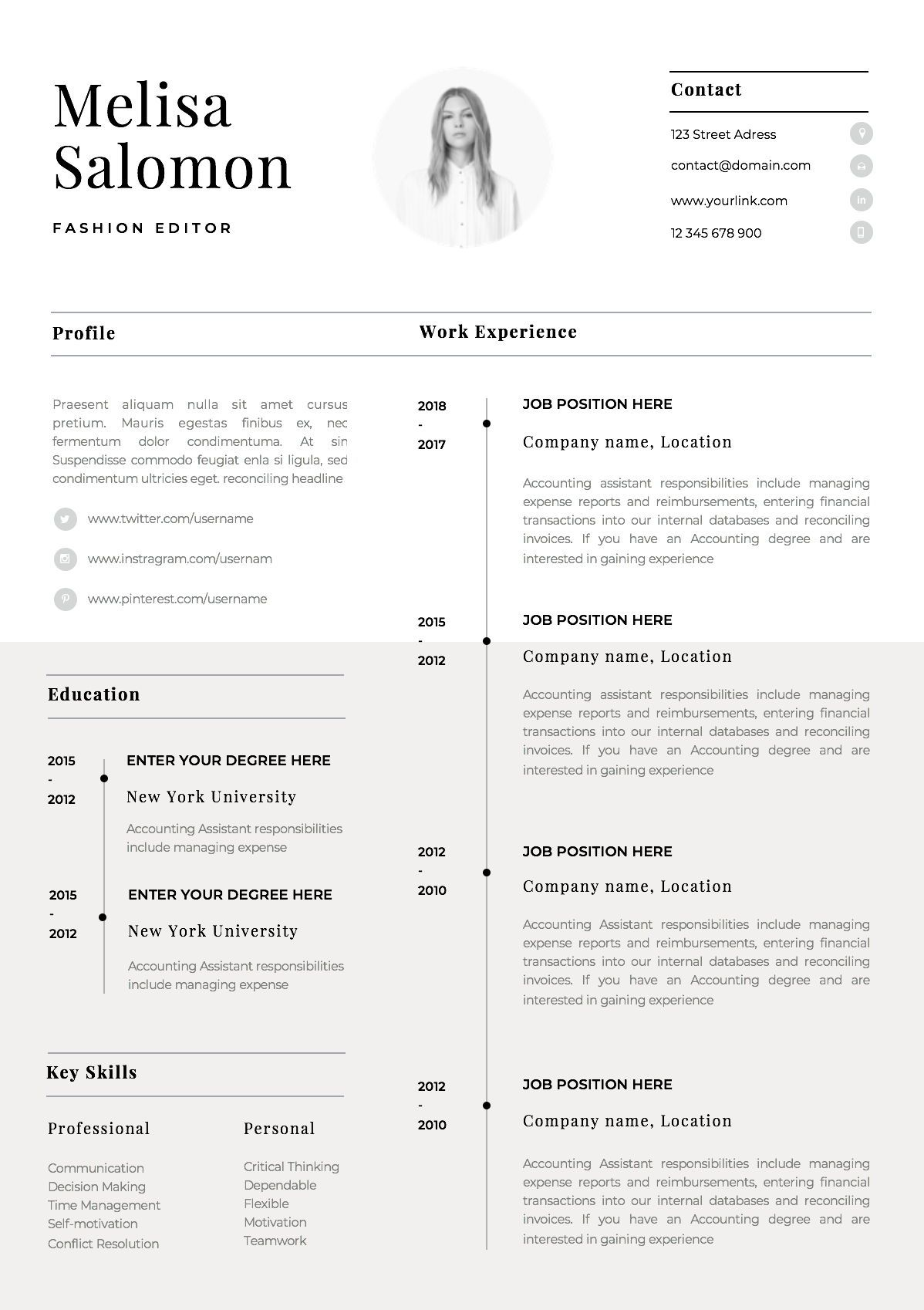 One page resume template with photo for word & pages CV