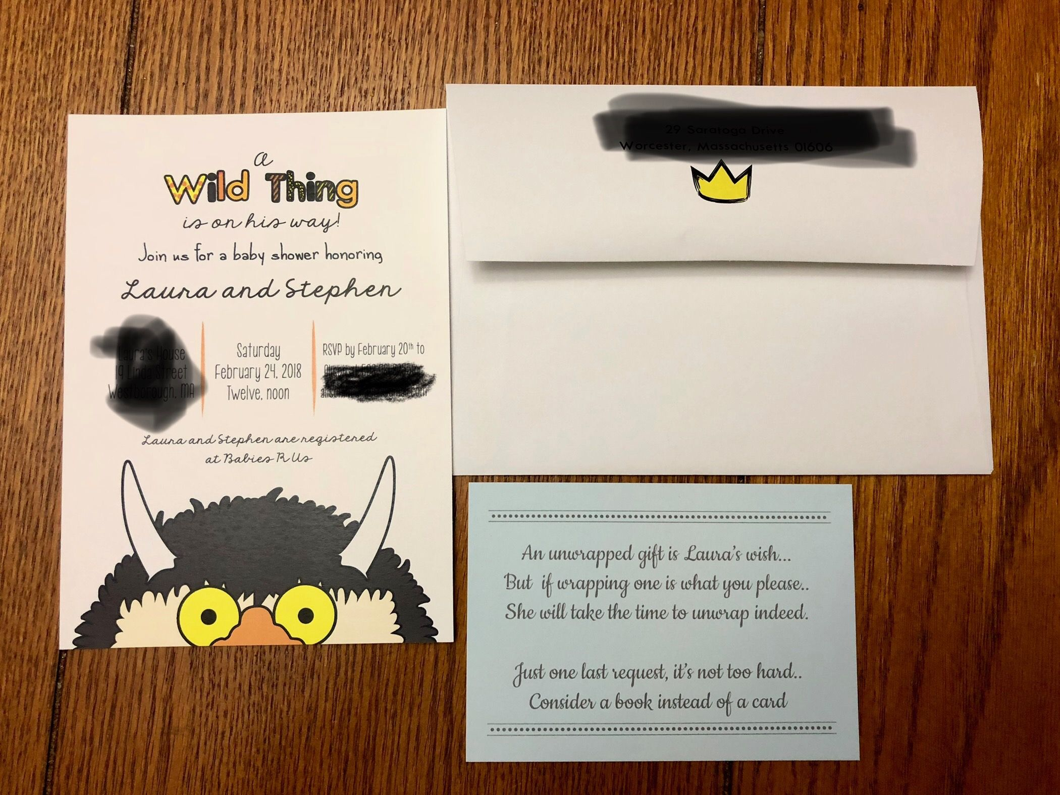 Where the Wild Things Are shower invitation Unwrapped gift poem ...