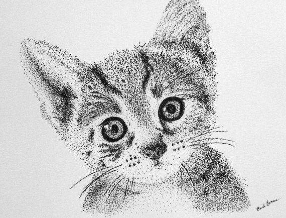 Mounted Giclee KITTEN  Pointillism Print
