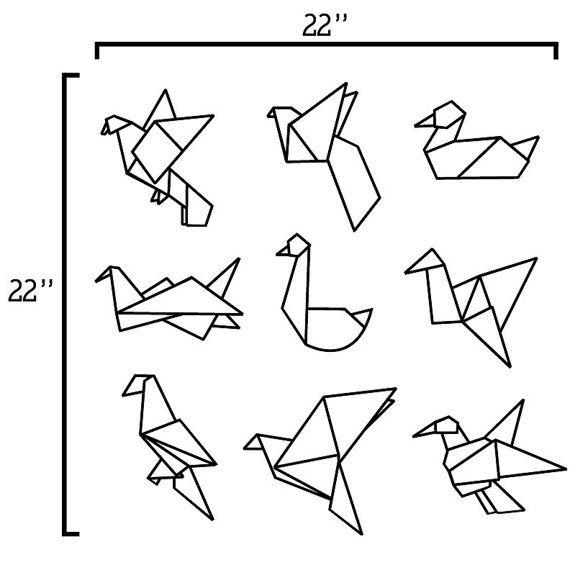 Origami oiseaux vinyle wall decal par radraspberry sur etsy boucles d oreilles tatouage - Jeux d oiseau qui vole ...
