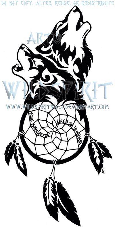True Strength Lies In The Heart Wolf Dreamcatcher